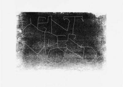 Plexiglas-Stiche 2007 - 51,5 x 21 cm und 45 x 30,7 cm - Ein Haiku von Basho - 4 Blatt - WEINT DER MOND