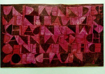 1967 | 210 x 130 cm | handgesponnene Wolle | Text: UND WENN DIESE MEINE HAUT ZERSCHLAGEN SEIN WIRD, DANN WERDE ICH OHNE MEIN FLEISCH GOTT SCHAUEN. (Hiob) | Besitz: Klingspor-Museum
