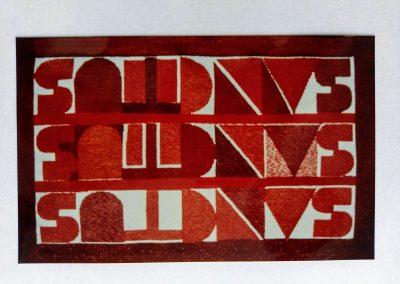 1992 | 142 x 85 cm | Wolle, Seide und Lurex auf Baumwollkette | Text: SANCTUS SANCTUS SANCTUS