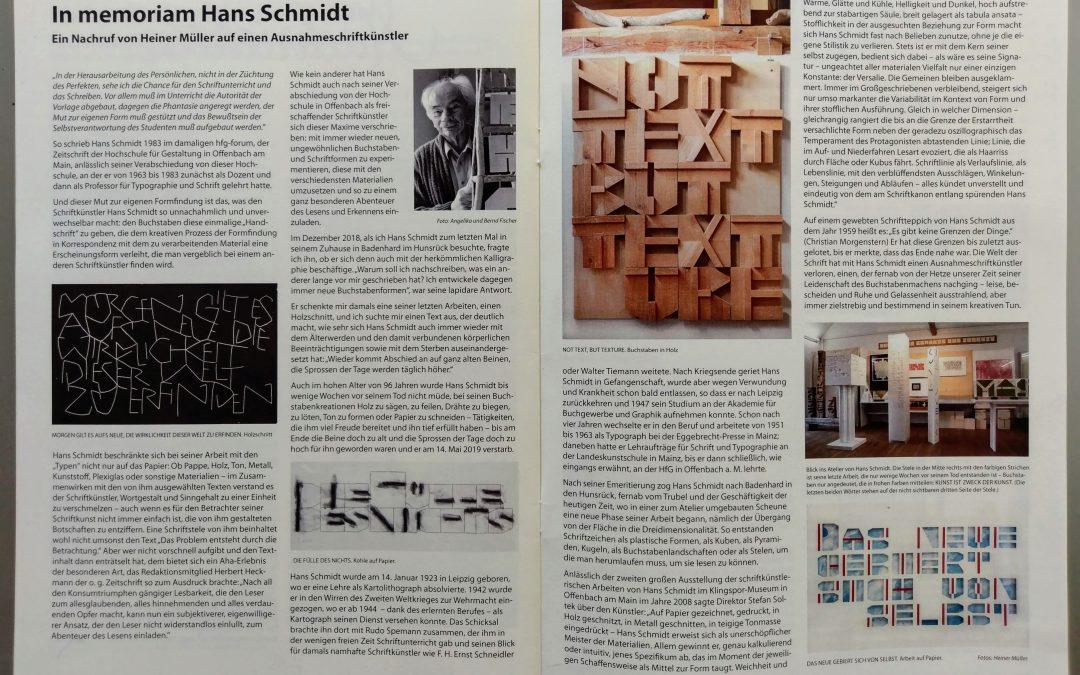 In memoriam Hans Schmidt